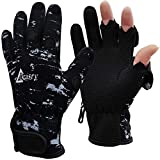 Drasry Neoprene Fishing Gloves Touchscreen 3 Cut Fingers Warm Cold Weather Waterproof Suitable for Men and Women Ice Fishing Fly Fishing Photography Motorcycle Running Shooting (Black, S)