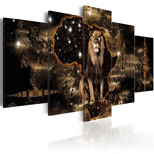 murando - Bilder Tiere 200x100 cm Vlies Leinwandbild 5 TLG Kunstdruck modern Wandbilder XXL Wanddekoration Design Wand Bild - Abstrakt Löwen Gold schwarz g-A-0011-b-o