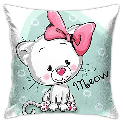 Square Throw Pillow Case Cute Cartoon White Kitten On Blue Cushion Cover 45X45CM