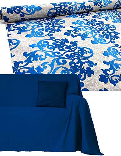 Funda de sofá de algodón de 2 3 4 5 plazas artesanal Granfoulard cubre sofá no planchar grande a medida tela decorativa foulard universal moderno vintage jacquard cubretodo sofá Penisola Made in Italy