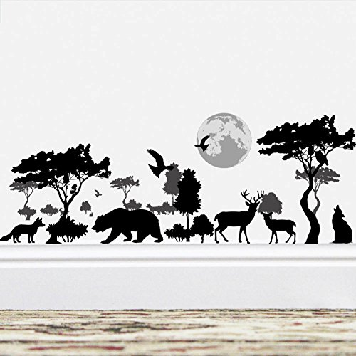 BIBITIME Vinyl Black Silhouette Sticker Forest Big Tree Moon Birds Bear Dog Wolf Elk Deer Wall Decal Borders Wallpaper for Living Room Nursery Decor Children Bedroom Art Murals DIY