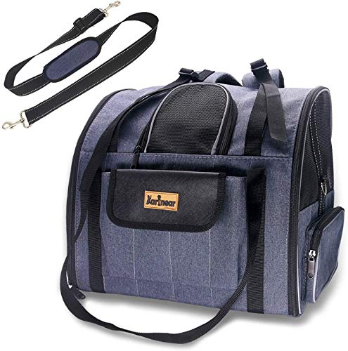 Pet Carrier, Portable Pet Travel Carrier Foldable Carrier Bag, Airline Approved Cat Carrier Dog Carrier for Small Medium Cats Dogs Puppies of 22 lbs, Soft Fleece Pad and Escape-Proof