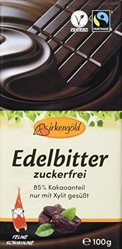 Birkengold Edelbitter Schokolade zuckerfrei, 3er Pack   ohne Zucker   85 % Kakaoanteil   nur mit europäischem Xylit gesüßt   fairtrade   vegan