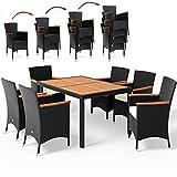 Deuba | Salon de jardin - Ensemble 6+1 • noir, polyrotin | 6 chaises empilables • table + accourdoirs en acacia • résistant aux intempéries | Mobilier