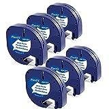 6x MarkField Cinta de Etiqueta Compatible para Dymo Letratag Plástico Cinta Recambio 12mm x 4m, Etiquetadoras LT-100H LT-100T LT-110T QX 50 XR XM, Negro sobre Blanco, (para Dymo Letratag Plastic Tape)