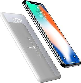 WangLx Ele Cargador Inalámbrico Power Bank 10000mAh Cargador Móvil Portátil Batería Externa con Pantalla LED Digital y Dual USB Compatible para iPhone XR/XS/X/8/8 Plus y Todos Móviles con QI