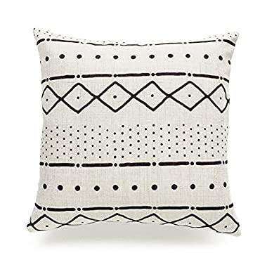Hofdeco Decorative Throw Pillow Case African Mud Cloth Print Bogolan Pattern Heavy Weight Fabric Cushion Cover 18x18 Inches