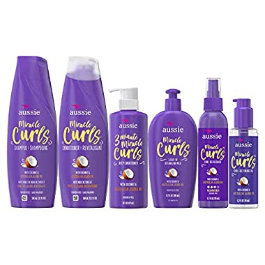 Aussie Miracle Curls Collection: Shampoo, Conditioner, Deep Conditioner, Spray Gel, Detangling Milk, and Oil Hair…