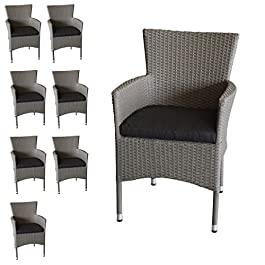 8x fauteuils en polyrotin empilable Fauteuil Gris chiné en rotin avec coussin d'assise fauteuil de jardin Chaise de jardin Chaise en rotin Fauteuil empilable en rotin noire Mobilier de Terrasse balcon meubles meubles de jardin