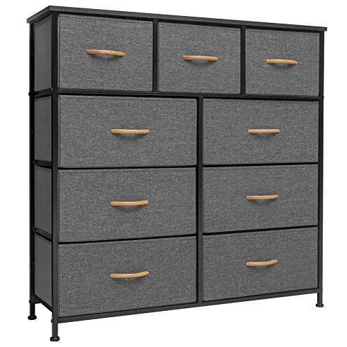 Crestlive Products Vertical Dresser Storage Tower - Sturdy Steel Frame, Wood Top, Easy Pull Fabric Bins, Wood Handles - Organizer Unit for Bedroom, Hallway, Entryway, Closets - 6 Drawers (Gray)