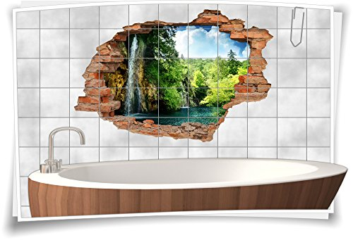 Medianlux Fliesenaufkleber Fliesenbild Fliesenaufkleber Wanddurchbruch See Wasserfall Bad, 75x50cm, 20x25cm (BxH)