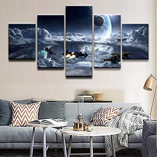 HD Drucke Poster Wohnkultur Wohnzimmer Wandkunst 5 Stück Spiel Star Citizen Cloud Planet Raumschiff Bilder -Size3