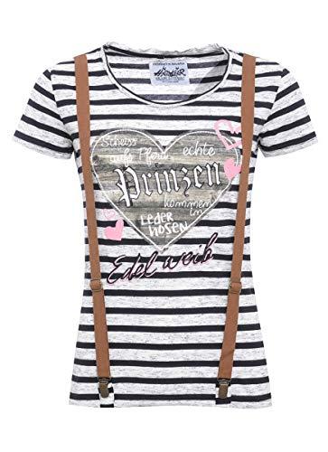 Hangowear Damen Trachten-Mode Trachtenshirt Irma zweifarbig in Grau und Schwarz traditionell, Größe:XS, Farbe:Mehrfarbig