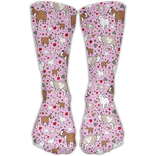 Nifdhkw Ziegen in rosa Meerschweinchen mit Keks Männer Frauen gedruckt Crew Socken Funky Cotton Socken für Home Outdoor