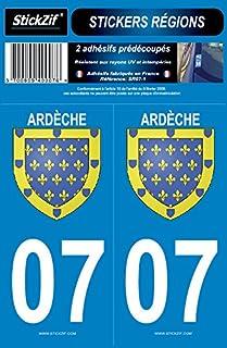 STICKZIF SR07–12Kleber Aufkleber Region Departement 07Ardèche, Set 2