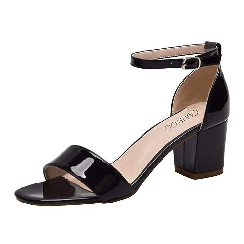 b798d2a8edb Black Patent Sandals: Amazon.co.uk