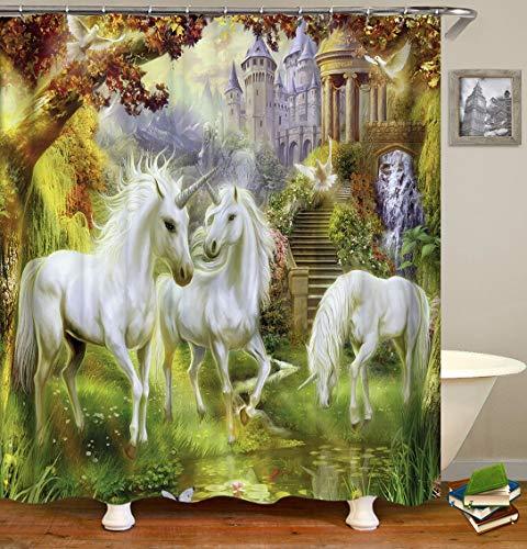 OqgsMindyzk Blanco Hermoso Unicornio Castillo Bosque Prado Verde Que Vuela pájaro de río Pescado Cortina de Ducha Impermeable Tela decoración Moda Arte
