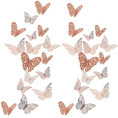 Senkary 72 Pieces (3 Sizes 3 Styles) Rose Gold 3D Butterfly Wall Stickers Wall Decorations...