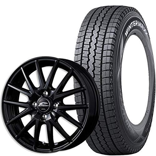 ダンロップ スタッドレス タイヤ・アルミホイール 4本セット WINTER MAXX SV01 145R12 6PR シュナイダーSQ27 ブラック 黒