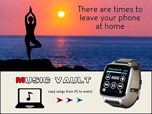 Bit - Reloj inteligente con función completa para dispositivos Apple y Android. Elegancia clásica con comunicaciones, fitness, con jaulas de música con 8 g de almacenamiento a bordo. Oro con correa de piel de becerro marrón