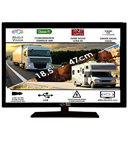 "Télévision Camping Car Camion Fourgon 12V 24V MOBILVISION 18,5"" 47cm - TVWS19"