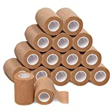 4-inch Wide Self Adherent Cohesive Wrap Bandages Bundle, 5 yards Self Adhesive Non Woven Bandage Rolls, Brown Athletic Tape for Wrist, Ankle, Hand, Leg, Premium-Grade Medical Stretch Wrap (Pack of 16)