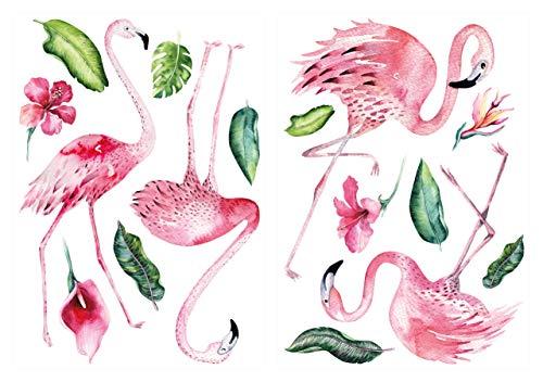 dekodino® Wandtattoo Aquarell Flamingo mit Pflanzen Wanddeko Set