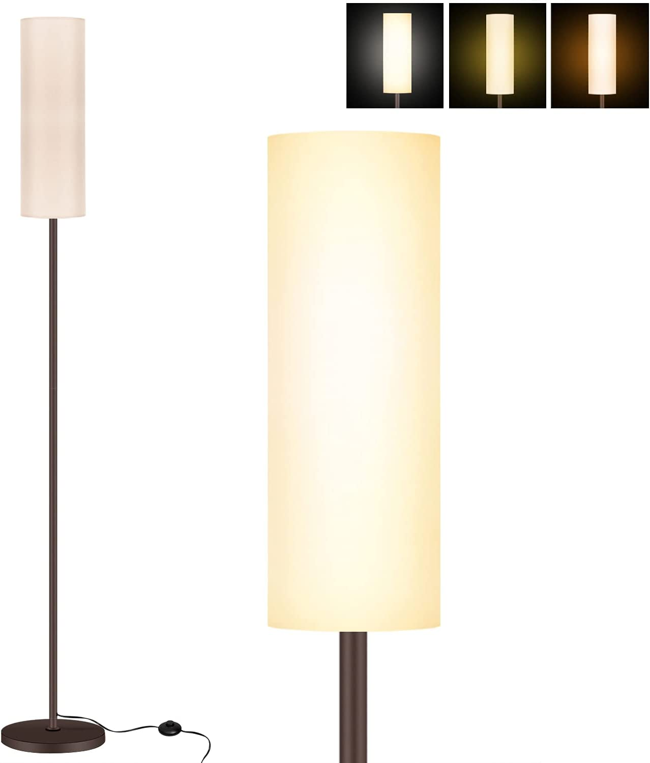 KIKET HOME Floor Lamp, Modern Design Standing Light with Linen Lamp Shade, Tall Lamp for Living Room/Bedroom/Study Room/Office with E26 Lamp Base (3-Color LED Bulb Included)
