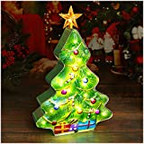 DenicMic Tabletop Tree Light: 14 inch Light up Small Ceramic Christmas Tree with Music & Timer, Glass Metal Battery Operated LED Tree Lamp, Indoor Hanging Decorations