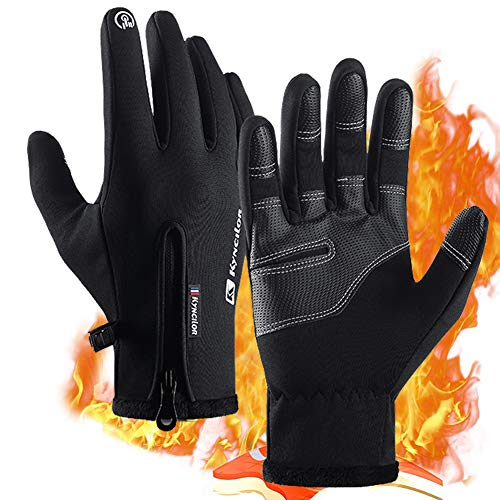 R Thermal Gloves,Waterproof PU Leather Winter Warm Gloves,Touchscreen Anti-slip Full Finger Gloves,Men&Women Keep Warm,Windproof and Rainproof Cycling Gloves,Skiing,Running,Hiking etc