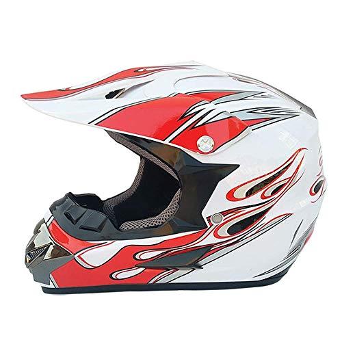 QTQZ Cascos de Motocross Casco de protección Integral Integrado Certificación Dot/ECE Cascos Todoterreno Cruzados Casco de ciclomotor para Hombres y Mujeres Casco de Carreras Usar Gafas y guant