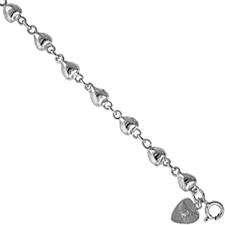 Sterling Silver puffy Hearts Charm Bracelet 7mm wide, fits 7-8 inch wrists