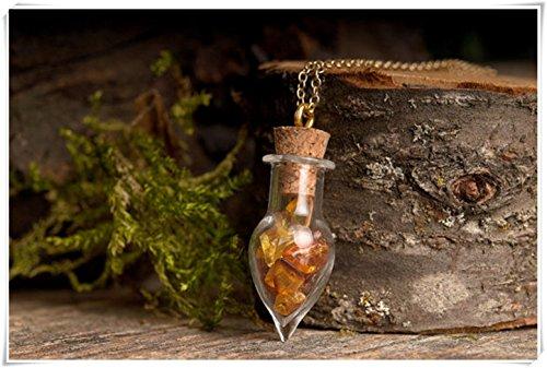 A little little love Collar de ámbar, collar de la naturaleza, collar de ámbar báltico, collar de latón envejecido, collar de vial de cristal
