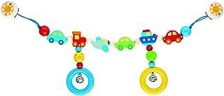 Goki Pram Chain Vehicles with Clips Juguete Colgantes para bebé - Juguetes Colgantes para bebé (Multicolor, Metal, Madera, Cochecito/Carrito de bebé, Niño/niña, 40 cm, 170 g)