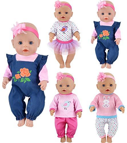 ebuddy Puppenkleidung 4 Sets enthalten Jeans Tops Hosen Stirnband Rock für 43cm Neugeborene Babypuppen / 15 Zoll Puppe
