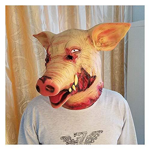 CXSMKP Víspera De Todos Los Santos Disfraz H1Z1 Batalla Royale Piel Sangre Cerdo Sombrerería Realista Cerdo Bajie Salvaje Jabali Máscara, Cigarro Máscara, De Fumar,B