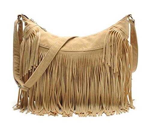 Aivtalk - Damen Fashion Fransentasche Handtasche Schultertasche Umhängetasche aus künstlichem Wildleder - Beige
