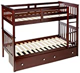 Donco Kids Mission Bunk Dual Under Bed Drawers, Twin/Twin, Dark Cappuccino