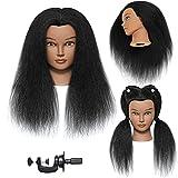 Mannequin Head with Human Hair 100% Real Hair Manikin Head Cosmestology Doll Head Hairdresser Practice Head for Hair Braiding Hair Styling Salon Manikin Training Head Mannequin Head Human Hair(14')