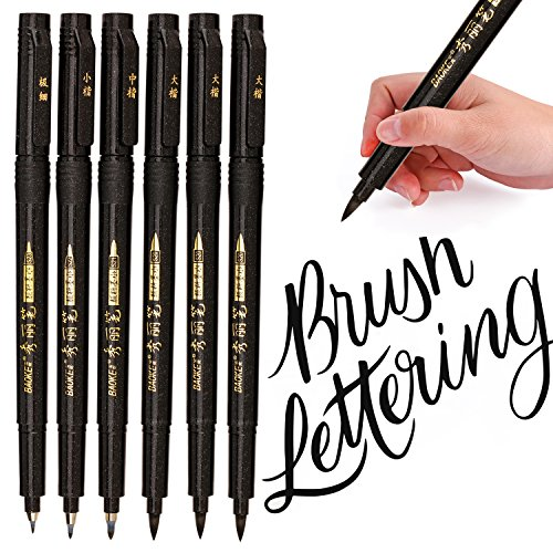 Lettering Pens, Refill Brush Calligraphy Markers Set - 4 Size(6 Pack), for Beginners