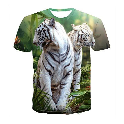 LXZ 3D Patrón Impreso Camisetas,Unisex 3D Impresión Tigre Camiseta Suelto Hombre Cuello Redondo Manga Corta Fitness Ocio Exterior Verano Top-2Xl