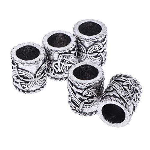 joyMerit 5 Piezas Vikingo Dreagon Patrón Rastas Trenzas Cabezas de Pelo Tubo de Pelo Cuentas Trenzado de Pelo Joyería Accesorios de Decoración del Cabello,