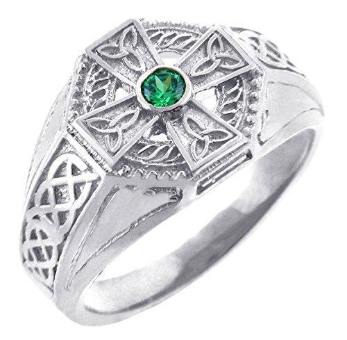Men's Sterling Silver Endless Knot Band Green CZ Celtic Cross Ring (10)