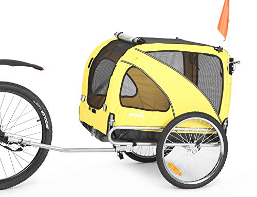 Sepnine & Leonpets Dog cart of 2 in1 Medium pet Dog Bike Trailer Bicycle Trailer and Jogger 10201 (Yellow)