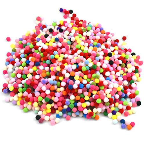 2000 Piezas Pompones de Colores, Mini Pompones Manualidades, Pompones de Fieltro para Bricolaje, Manualidades y Decoraciones, 8mm (Multicolor)