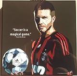 デビッド・ベッカム ACミラン 海外製 サッカーグラフィックアートパネル 木製ポスター インテリア
