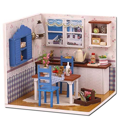 Gpure Habitación de Muñecos Madera DIY 3D Juegos De Construcción con Muebles y Accesorios para Niños Juguetes Maqueta De Fiesta Divertido Regalos De Cumpleaños Conmemorativas De Adornes