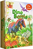 Dino Battle - Award Winning Logic Family Board Game for Kids 7 and Up. Fun, Strategy, Brain Stimulating Dinosaur Games for 2-4 Players. Line up a Row of Creatures Fastest. Magnetic Tiles