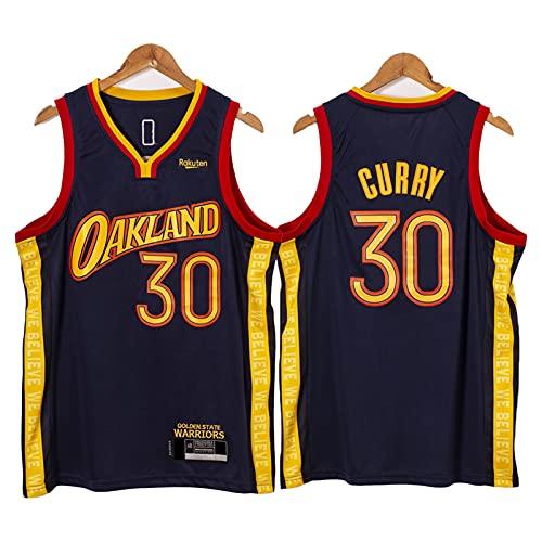 QJL Curry Basketball Jerseys para Hombres, 2020-21 Warriors Curry Swingman City Jersey - Versión Bordada de la Marina (S-XXL) L