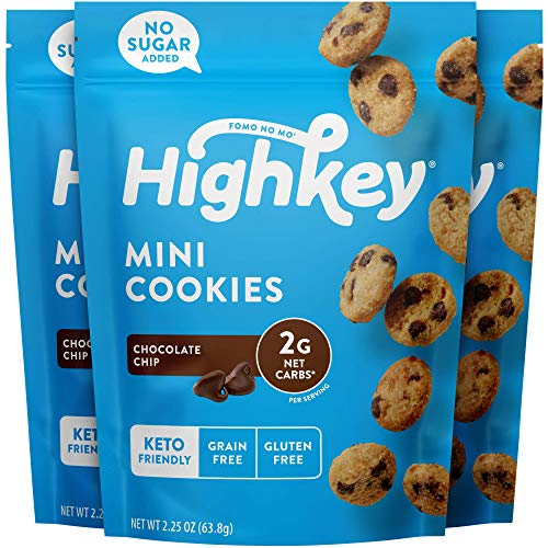 HighKey Snacks Keto Food, Low Carb Snack Cookies, Gluten Free & No Sugar Added - Chocolate Chip - Healthy Diabetic, Paleo, Dessert Sweets, Diet Foods - 3 Pack